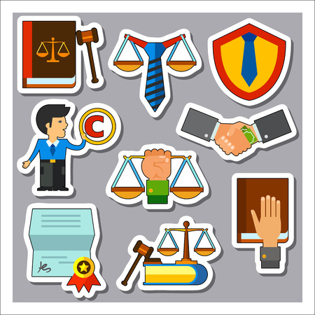 civil partnership: Law and court icon set