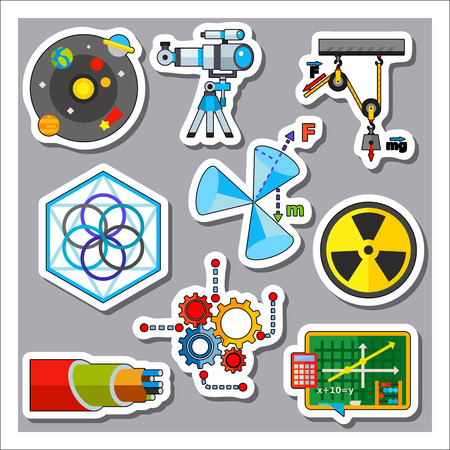 irradiation: Edication science icon set Illustration
