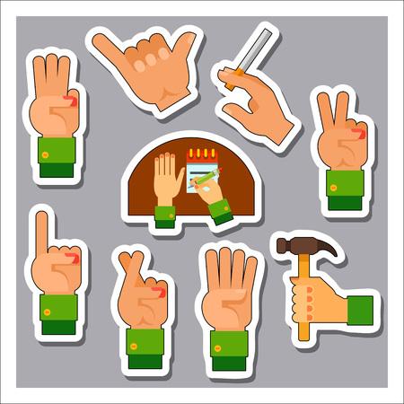 crossed cigarette: Hand sign icon set Illustration