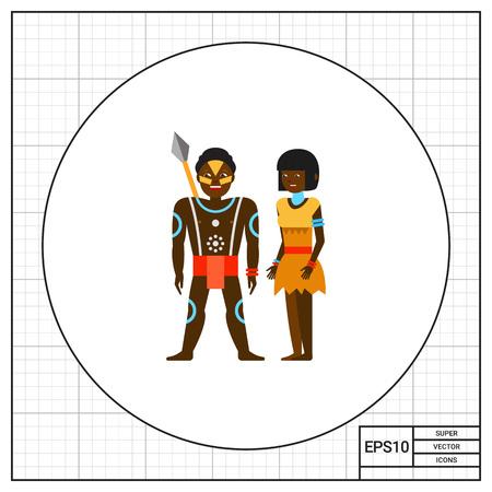 aborigine: Aborigine Australian couple icon