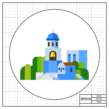 santorini: Blue Santorini church landscape icon