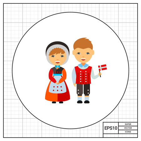 dane: Dane couple in national dress vector icon Illustration