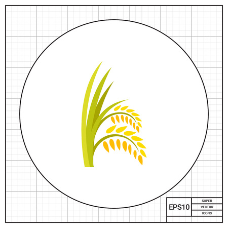 wheat bread: Ears of rice plant icon Illustration