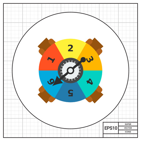 numbers icon: Game spinner with numbers and arrow icon Illustration