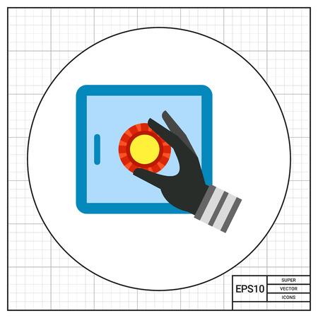 bank safe: Hacking bank safe with broken security symbol