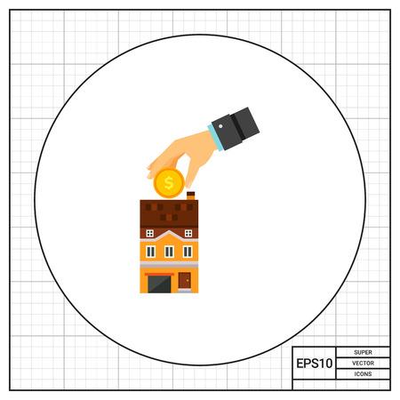 banco dinero: Casa hucha icono Vectores