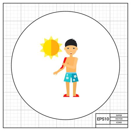 sunburn: Man complaining about sunburn on skin icon