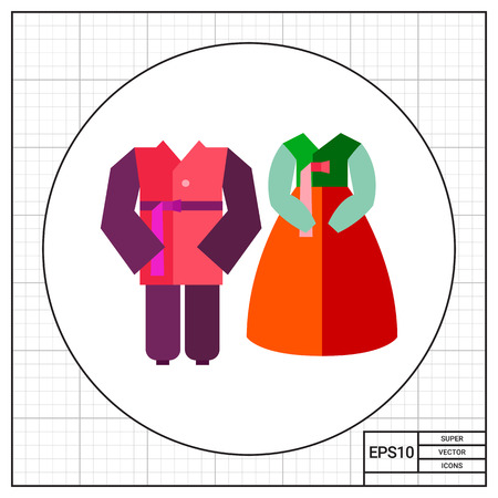 tradition: Korean male and female costumes icon Stock Photo