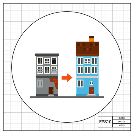 old and new: Renovation of old house icon
