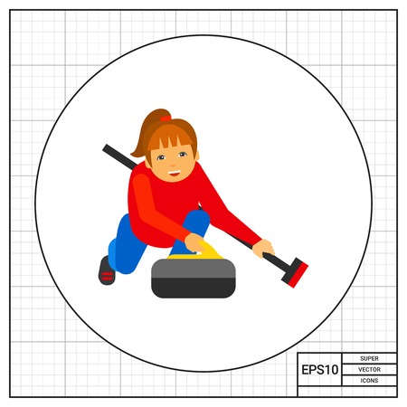 sportwoman: Curling Sport Vector Icon Illustration