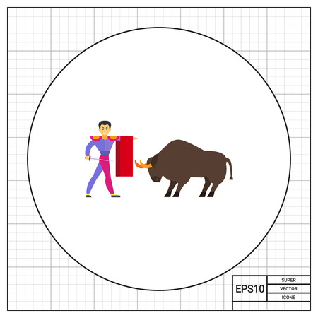 the matador: Matador fighting against bull icon