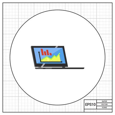 using laptop: Monitoring Using Laptop Icon Illustration