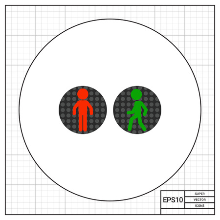pedestrian traffic lights: Icono de peatones luces de tráfico del vector