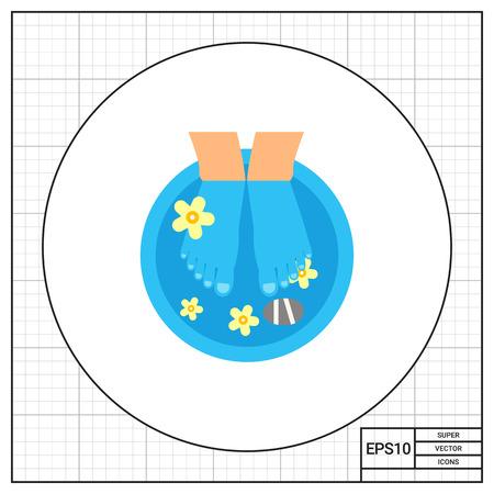Preparation for spa pedicure icon Illustration