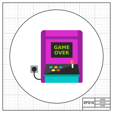 plugged: Retro arcade machine plugged icon Illustration