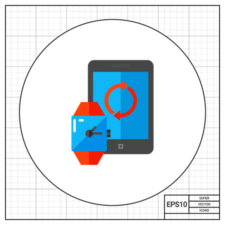 synchronization: Synchronization, Tablet and Watch Icon