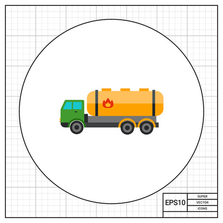combustible: Truck with Combustible Sign Icon Illustration