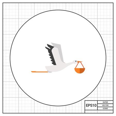bundle: Stork carrying bundle Illustration