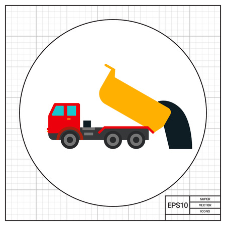 dump truck: Unloading dump truck icon