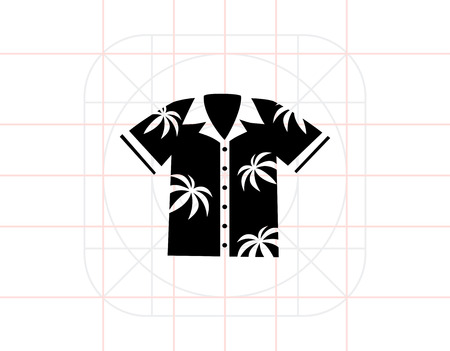 buttoned: Aloha Shirt Icon Illustration
