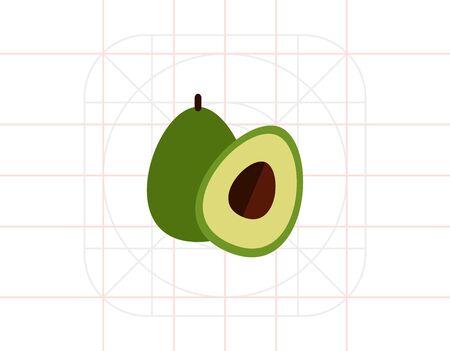 Avocado and cut avocado half Illustration