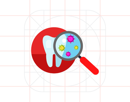 Bacteria on Tooth Vector Icon Illustration