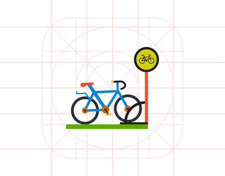 handlebar: Bicycle Parking Flat Icon Illustration