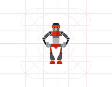 humanoid: Big Humanoid Robot Icon Illustration