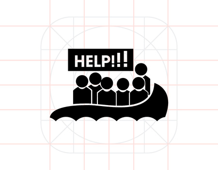 victim war: Boat with Refugees Asking for Help Icon