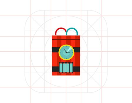 detonating dynamite: Bomb with Timer Vector Icon Illustration