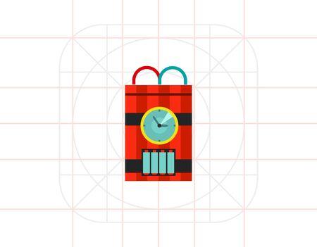 detonating: Bomb with Timer Vector Icon Illustration