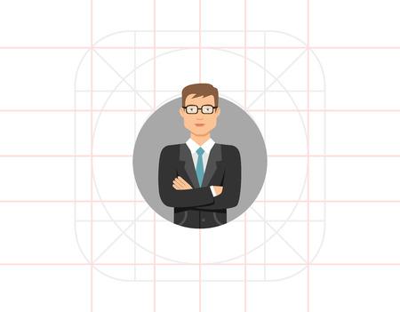 blank expression: Businessman in glasses Illustration
