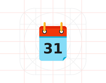 looseleaf: Calendar Page with Date 31 Icon Illustration