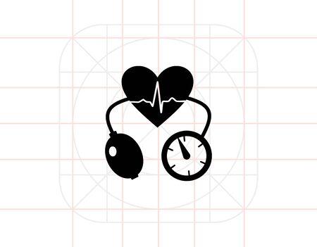 tonometer: Cardiology Concept and Tonometer Icon