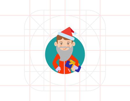 early teens: Boy in Santa costume holding gift box