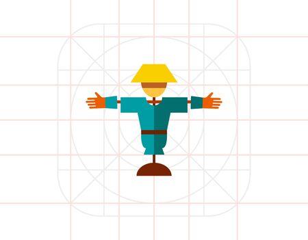 espantapajaros: Cartoon scarecrow icon Vectores