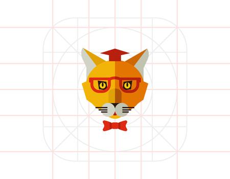 cat's eye glasses: Cat wearing hat, glasses