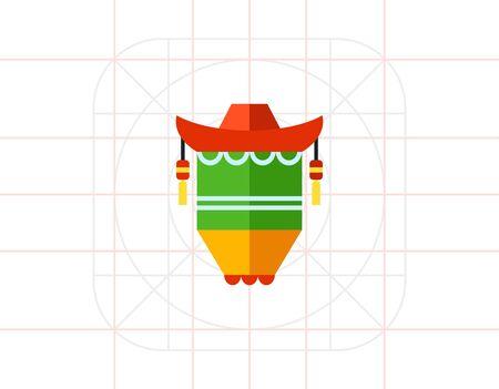 green lantern: Chinese Lantern Icon 1 Illustration
