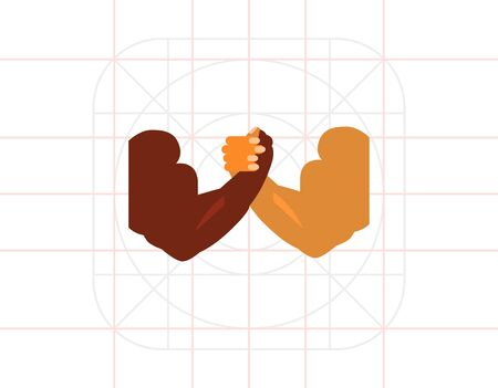 Combat Concept Icon with Arm-wrestling Hands