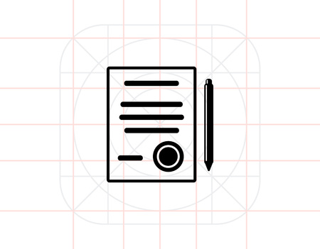 signing papers: Contract Simple Icon Illustration
