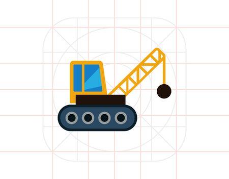 demolishing: Crane with wrecking ball