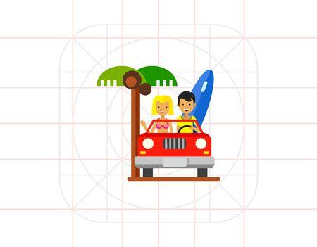 cabriolet: Couple Driving Cabriolet Icon