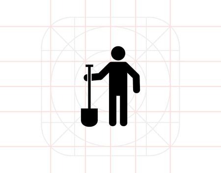 prospector: Digger Hombre con la espada Icono Vectores