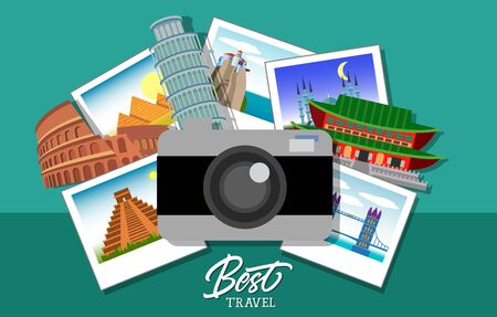 Best travel lettering. Best travel inscription with Parthenon, Pisa Tower, Japanese house, camera and photos of famous landmarks. Design elements can be used for postcards, banners, posters