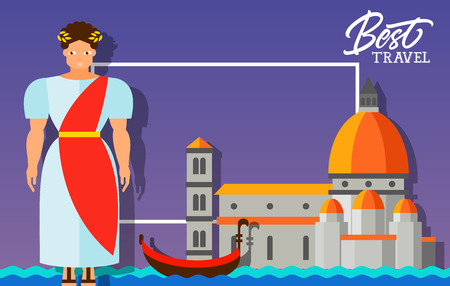 maria: Best travel lettering. Best travel inscription with ancient Roman in national costume, Santa Maria del Fiore and gondola. Design elements can be used for postcards, banners, posters