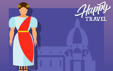 maria: Happy travel lettering. Happy travel inscription with ancient Roman in national costume on background with Santa Maria del Fiore. Design elements can be used for postcards, banners, posters Illustration