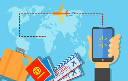 Booking air tickets online poster design. Hand holding smartphone with mobile app for booking tickets. Suitcase, passport, tickets, airplane. Design elements can be used for posters, leaflets, banners Illustration