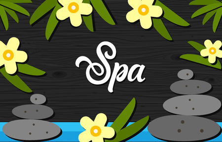 spa collage: Spa lettering. Spa calligraphic inscription decorated with exotic flowers and wellness stone. Handwritten text with design elements can be used for flyers, banners, posters
