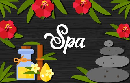 spa collage: Spa lettering. Spa calligraphic inscription decorated with hibiscus flowers, bottle of massage oil and stone. Handwritten text with design elements can be used for flyers, banners, posters