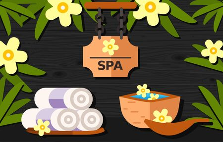 spa collage: Spa lettering on signboard decorated with exotic flowers, folded towels and wooden bowl. Design elements can be used for flyers, banners, posters, signboards Stock Photo